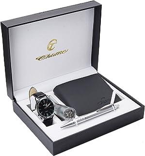 Coffret cadeau Montre Homme Noir - Lampe LED - Portefeuille - stylo