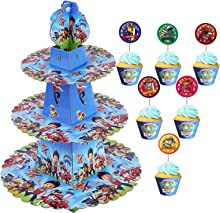 TOXYU 38PCS Paw Dogs Patrol Cupcake Stand kits, Paw Happy Birthday Cake Topper, 3 Tier Cakes Stand, 36Pcs Paw Dogs Cupcake Topper Party Decoration Supplies