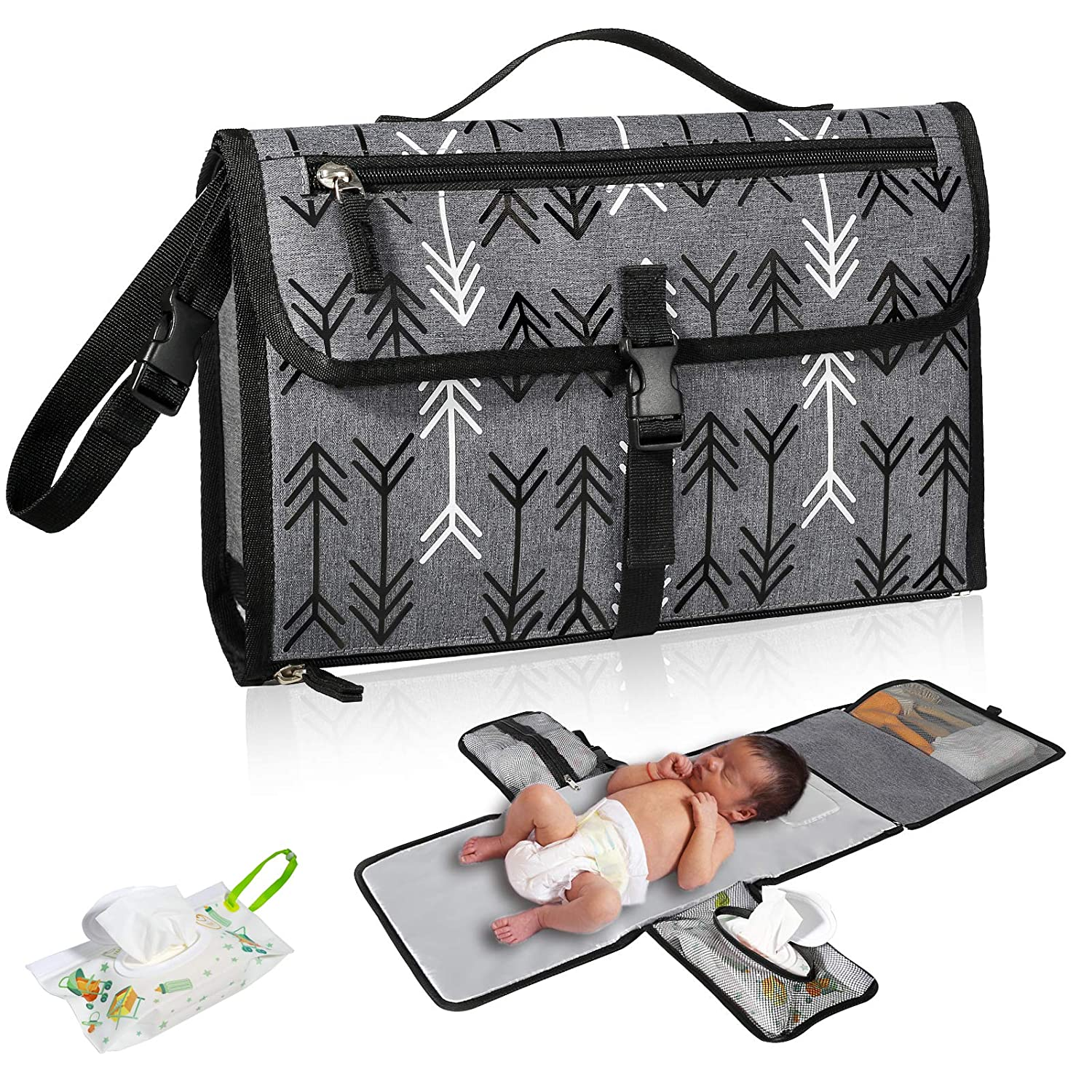 Baby Portable Diaper Changing Pad, Waterproof Travel Changing Mat for Newborn, Foldable Diaper Clutch with Built-in Head Cushion Wipes Pocket for Change Table Baby Shower Gifts, Grey