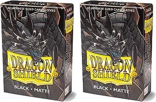 Dragon Shield Bundle: 2 Packs of 60 Count Japanese Size Mini Matte Card Sleeves - Matte Black