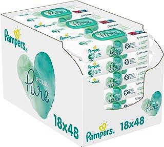 Pampers Aqua Pure Billendoekjes, 864 Babydoekjes (18 x 48 Doekjes), Gemaakt met 99% Puur Water + Biologisch Katoen, Dermat...
