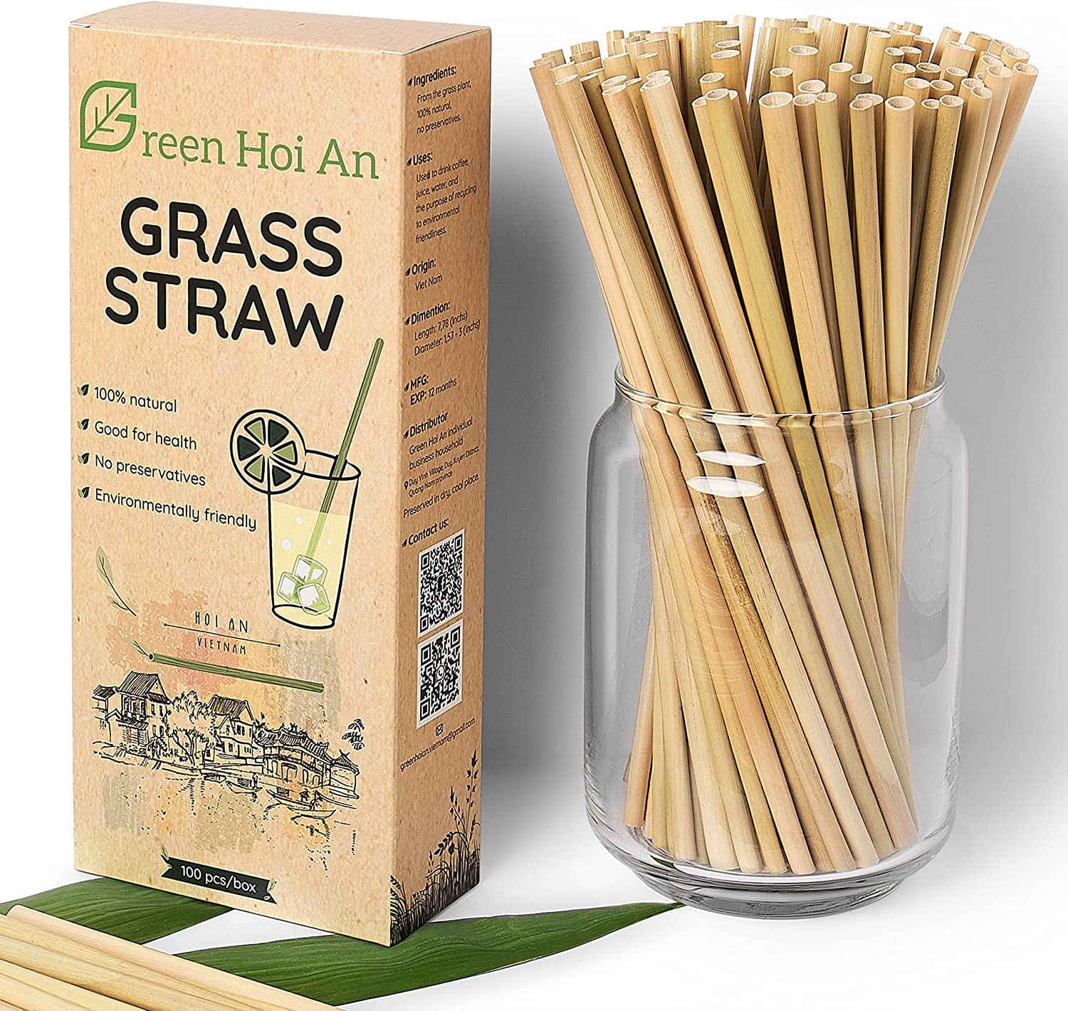 Green Hoi An Grass Straws Natural Sale item 100% Re Miami Mall Biodegradable –