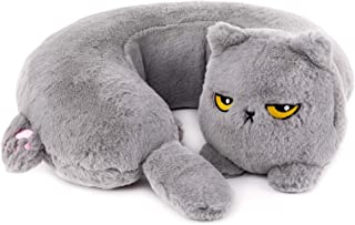 Smoko Heated Grumpy Cat Neck Pillow | Sleep Support for Airplane Travel | Kawaii Traveling Accessories