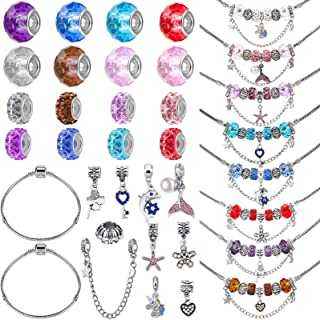 88 Pieces DIY Charm Bracelet Making Kit Include Shining Jewelry Charms, 7 Inch Silver Snake Bracelet Chain, Colorful Glass...