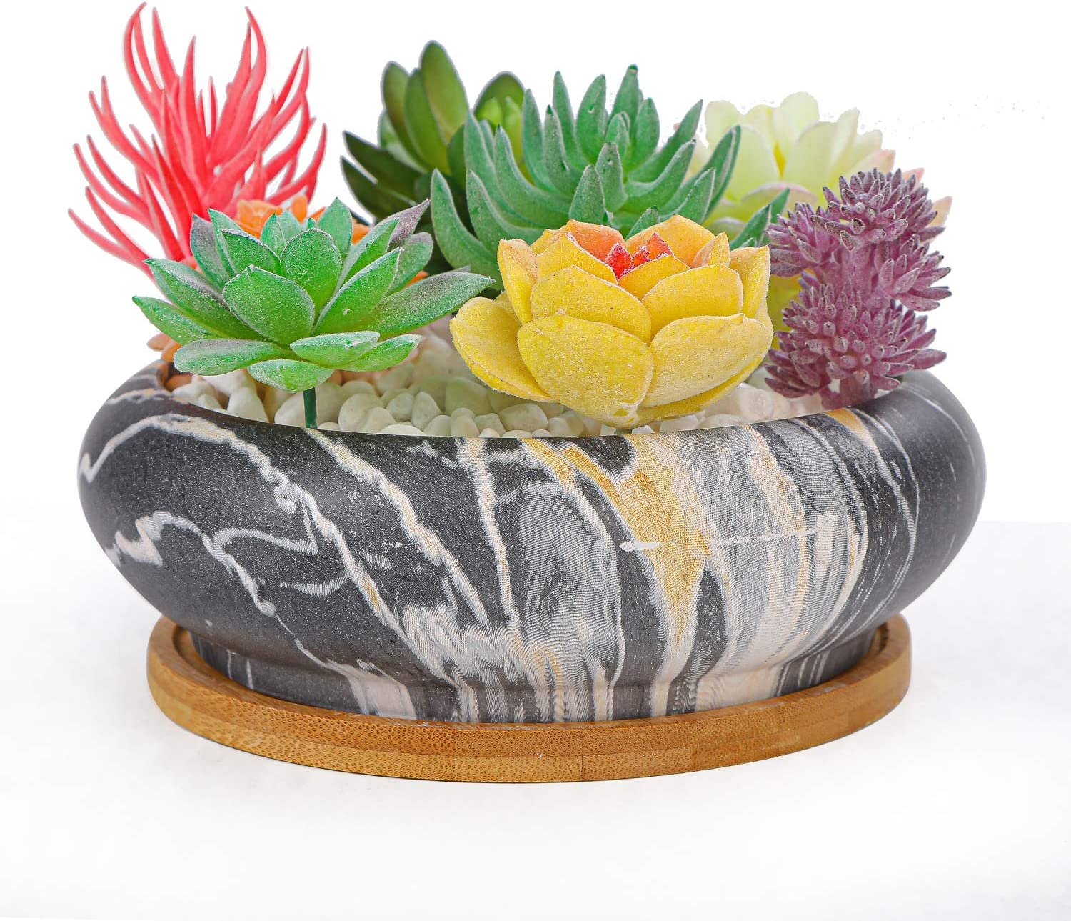 Artketty Marble Ceramic Succulent Cactus Plant Large Pot Round Popular Limited Special Price product