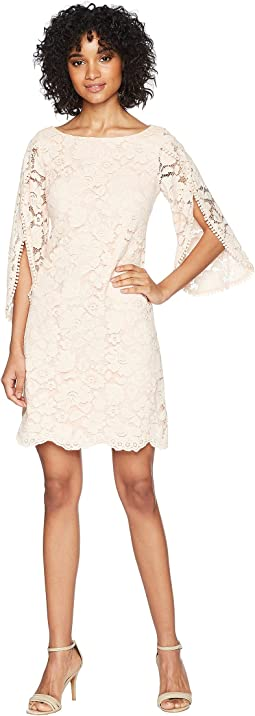 Vince Camuto Lace Shift Dress with Overlap Sleeves