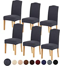 TIANSHU Stretch Chair Cover for Home Decor Dining Chair Slipcover (6 Pack, Grey)