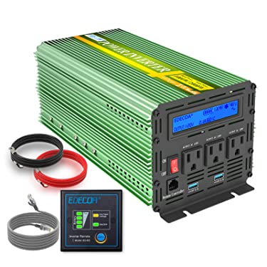 EDECOA 1000W Pure Sine Wave Power Inverter DC 12V to 120V 110V AC Converter with Remote Controller (1000W 12V Upgraded)