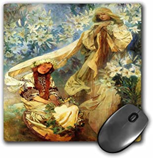 Alphonse Muchas Painting Madonna Of The Lillies - Mouse Pad, 8 by 8 inches (mp_61777_1)