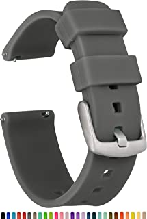 GadgetWraps 22mm Silicone Watch Band Strap with Quick Release Pins – Compatible with Fossil, Pebble, Samsung – 22mm Quick Release Watch Band (Gunmetal, 22mm)