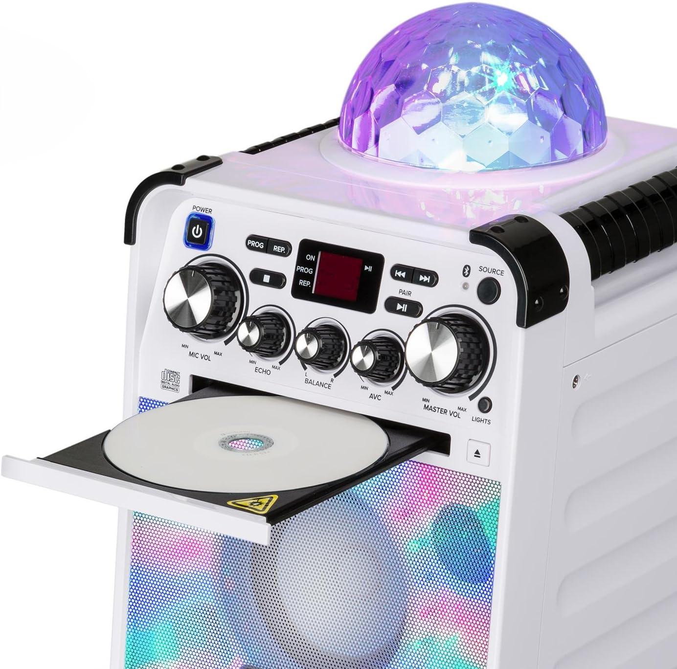 auna Rockstar - Karaoke-Anlage, Mini-Sound-System, Karaoke-System, LED-Jellyball, AVC-Funktion, Echo-Effekt, Bluetooth, CD, CD-R und CD-RW, robust, weiß weiß