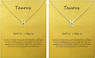 2Pcs Zodiac Necklace Horoscope Constellation Necklace Silver Gold BFF Necklace for 2 Birthday Gift