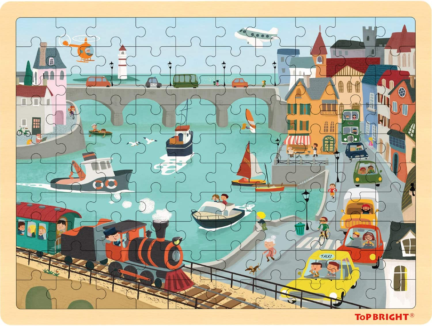 TOP BRIGHT Overseas Free shipping parallel import regular item 100 Piece Puzzles for Kids - Pu 4-8 Ages Urban Jigsaw