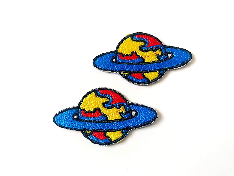 Tyga_Thai Brand Set 2 pcs. Mini Saturn Star World Space Jacket T-Shirt Sew Iron on Embroidered Applique Badge Sign Patch (Iron-Mini-Saturn-Star)