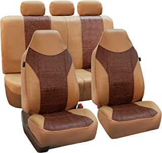 FH Group PU160BROWNBEIGE115 Brown/Beige PU Textured High Back Leather Seat Cover (Airbag Compatible and Split Bench)