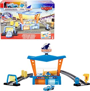 Disney Pixar Cars Color Change Dinoco Car Wash Playset with Pitty and Exclusive Lightning McQueen Vehicle, Interactive Wat...