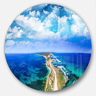 Designart Blue Fort Nepean Road from Helicopter Landscape Circle Wall Art - Disc of 23, 23X23-Disc of 23 inch