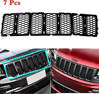 AVOMAR 7PCS Latest Honeycomb Matte Mesh Front Grill Grille Inserts Cover Kit For 2014 2015 2016 Jeep Grand Cherokee (Black)