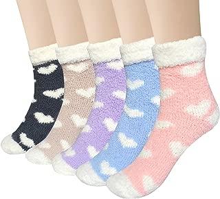 5 Pairs Womens Fuzzy Christmas Socks Warm Soft Cozy Fluffy Slipper Socks Gifts