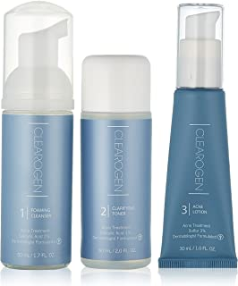 Clearogen Sensitive Skin Acne Treatment Set with Sulfur Lotion, Foaming Cleanser, Clarifying Toner, Kit for hormonal acne & blemishes