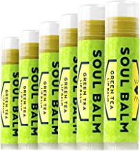 Soul Balm - USDA Organic & 100% Natural Green Tea Beeswax Lip Balm, Made in USA with Real Matcha Green Tea, Coconut Oil, Aloe Vera, and Vitamin E - 6 Tubes