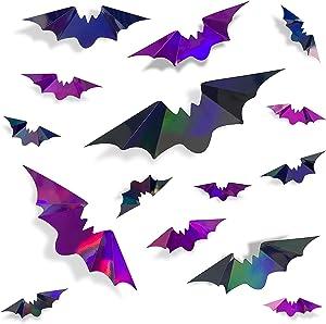 72Pcs Bats Halloween Decoration Iridescent 3D Bats Wall Decor Black Purple Holographic Paper Decorative Bat Wall Art Decals Stickers Spooky Bats for Halloween Home Room Decor Party Decoration Supplies