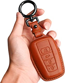 Tukellen for Toyota Key Fob Cover Genuine Leather with Keychain