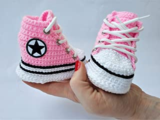 603a92cd89c4 First Star Infant Girl High Top Pink Crochet Soft Slippers Sneakers Baby  Shower Newborn Shoes Gift