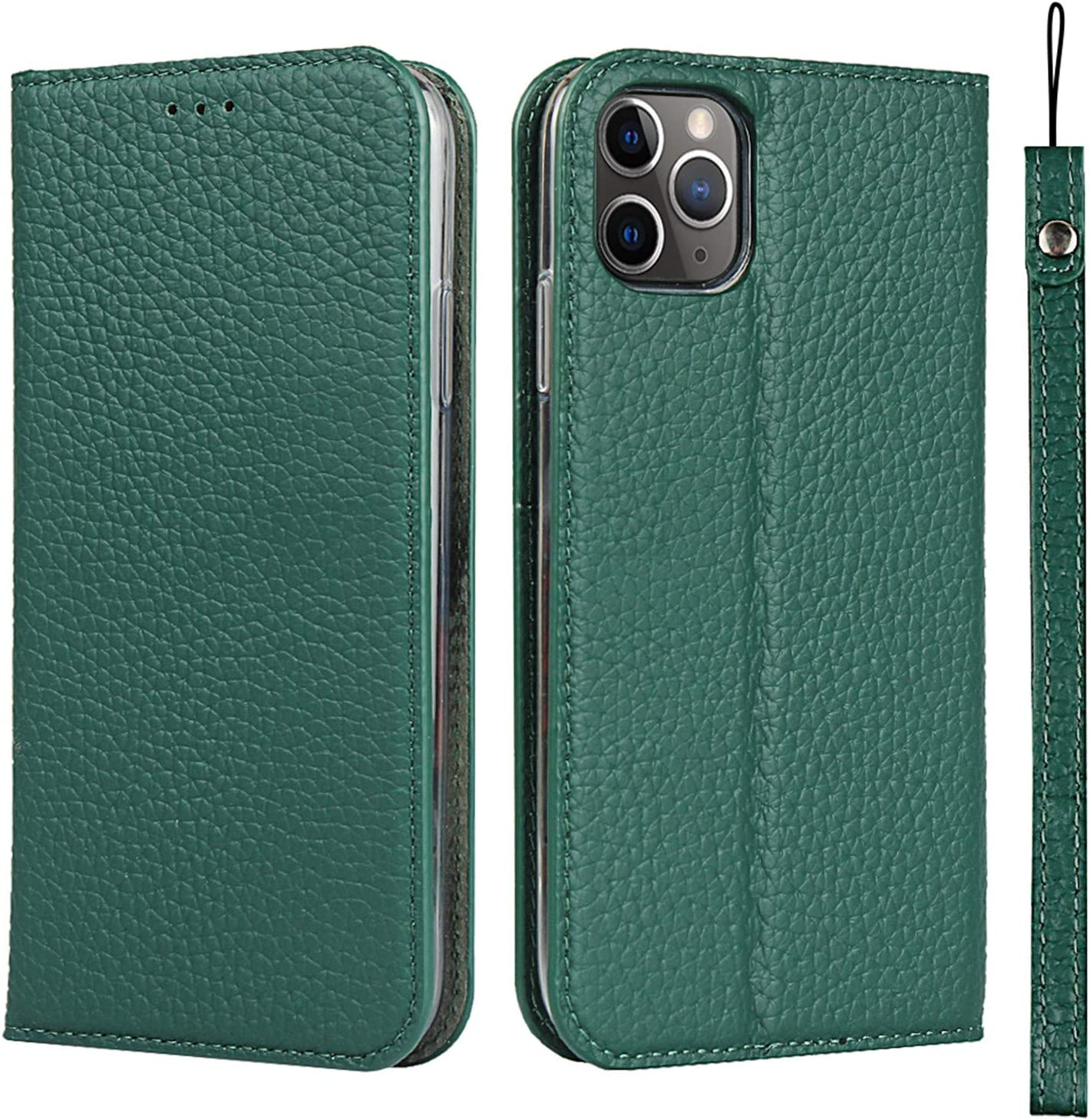 Zouzt [RFID Blocking] Premium Leather case for with iPhone 11 pro max Wallet Magnetic Flip Cover case with Card Slot TPU Shockproof Stand Genuine Leather case with Lanyard Green