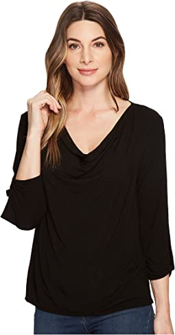 Michael Stars Jersey Lycra® 3/4 Sleeve Cowl Neck Top