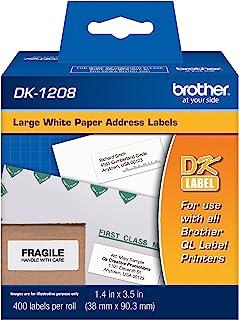 Brother Genuine DK-1208 Die-Cut Large Address Labels, Long Lasting Reliability, Die-Cut Large Address Paper Labels, 400 La...