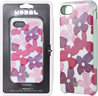 Modal Dual Layer Case Cover Skin for Apple iPhone 7 / 6s / 6 - MT Floral Design Pattern / Teal / Purple / Pink - In Retail Package