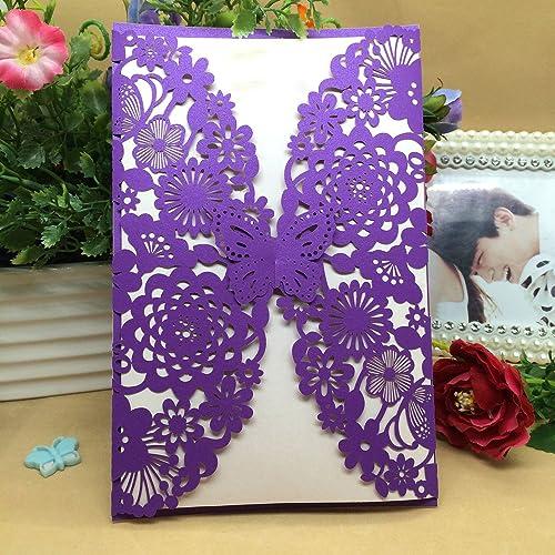 Purple Wedding Invitations Amazoncouk