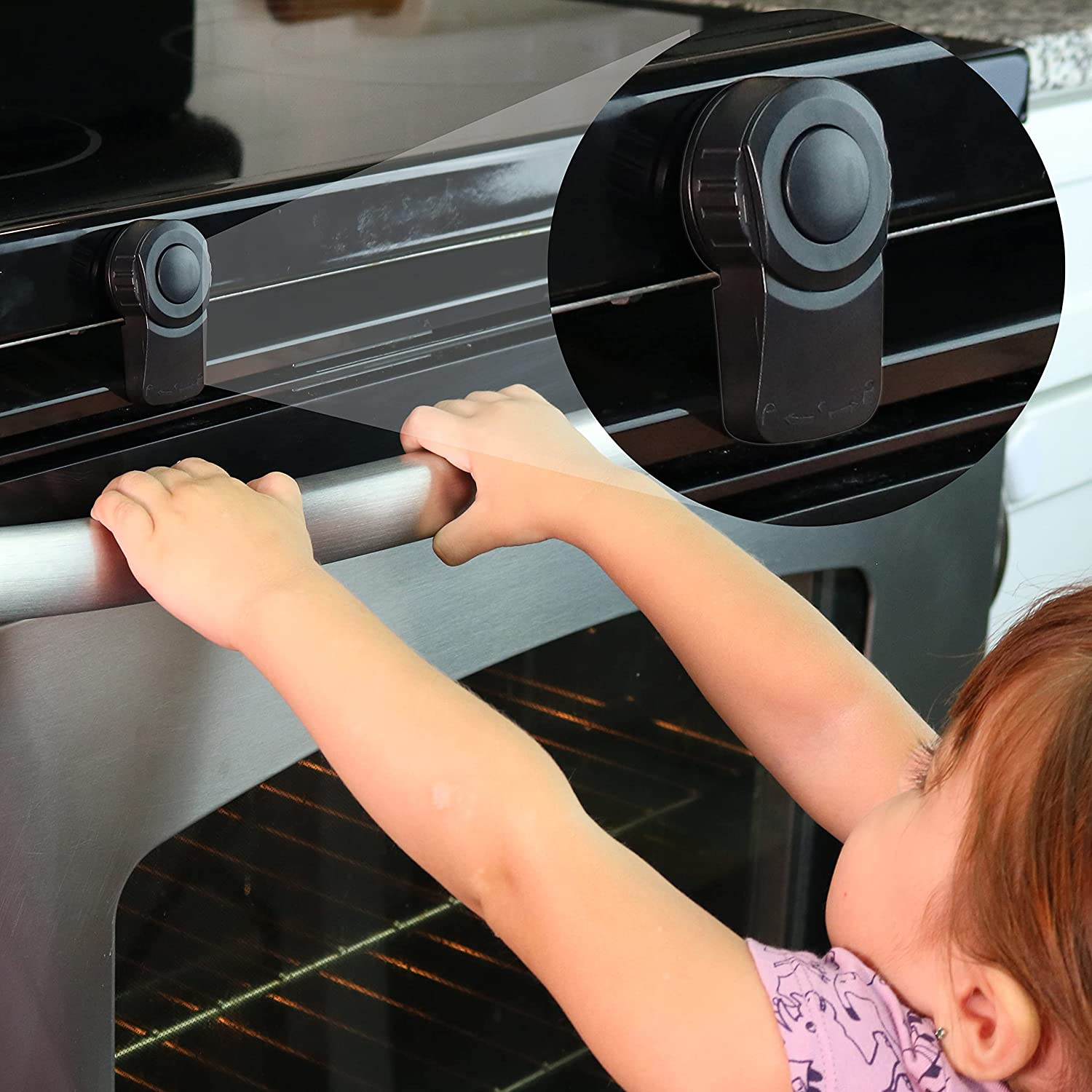 Baby Oven Door Lock Child Safety Switch with Double Locking Protection for Kids, Babies, and Toddlers, Help Prevent Pinched Fingers and Hands, 3M Adhesive Backing