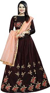 Ethnicset Embroidered Silk Lehenga Choli For Women (Brown)
