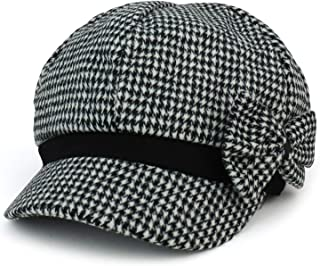 Women's Houndstooth Pattern Newsboy Cap with Side Bow