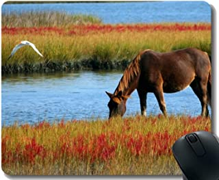 Customized Rubber Mousepad,Pasture Nature Grass Horse with Stitched Border
