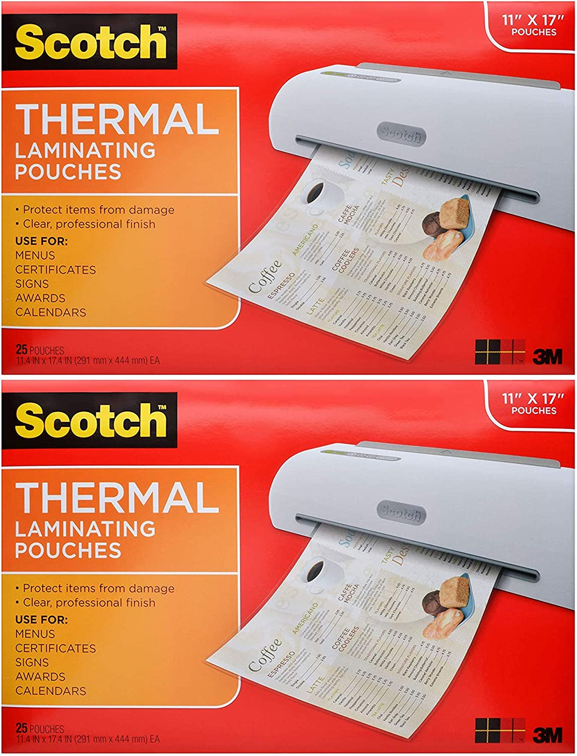 2 Pack 25-Pouches Scotch Thermal Laminating Pouches 11.45 x 17.48-Inches TP3856-25