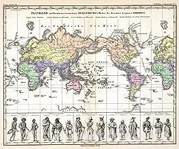 Historic Map - 1848 Planiglob zur Ubersicht der verschiedenen Bekleidung's Weise der Bewohner des ganzen Erdbodens. - Vintage Wall Art - 44in x 37in