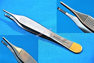 """German Premium Tc Adson Tissue Forceps Toothed 1X2 4.75"""" Adson Kocher Configuration Surgical Veterinary Cynamed"""