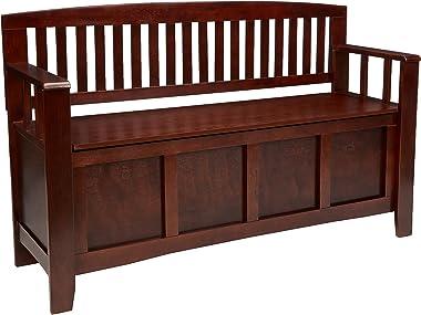 "Linon Home Dcor Linon Home Decor Cynthia Storage Bench, 50"" w x 17.25"" d x 32"" h, Walnut"