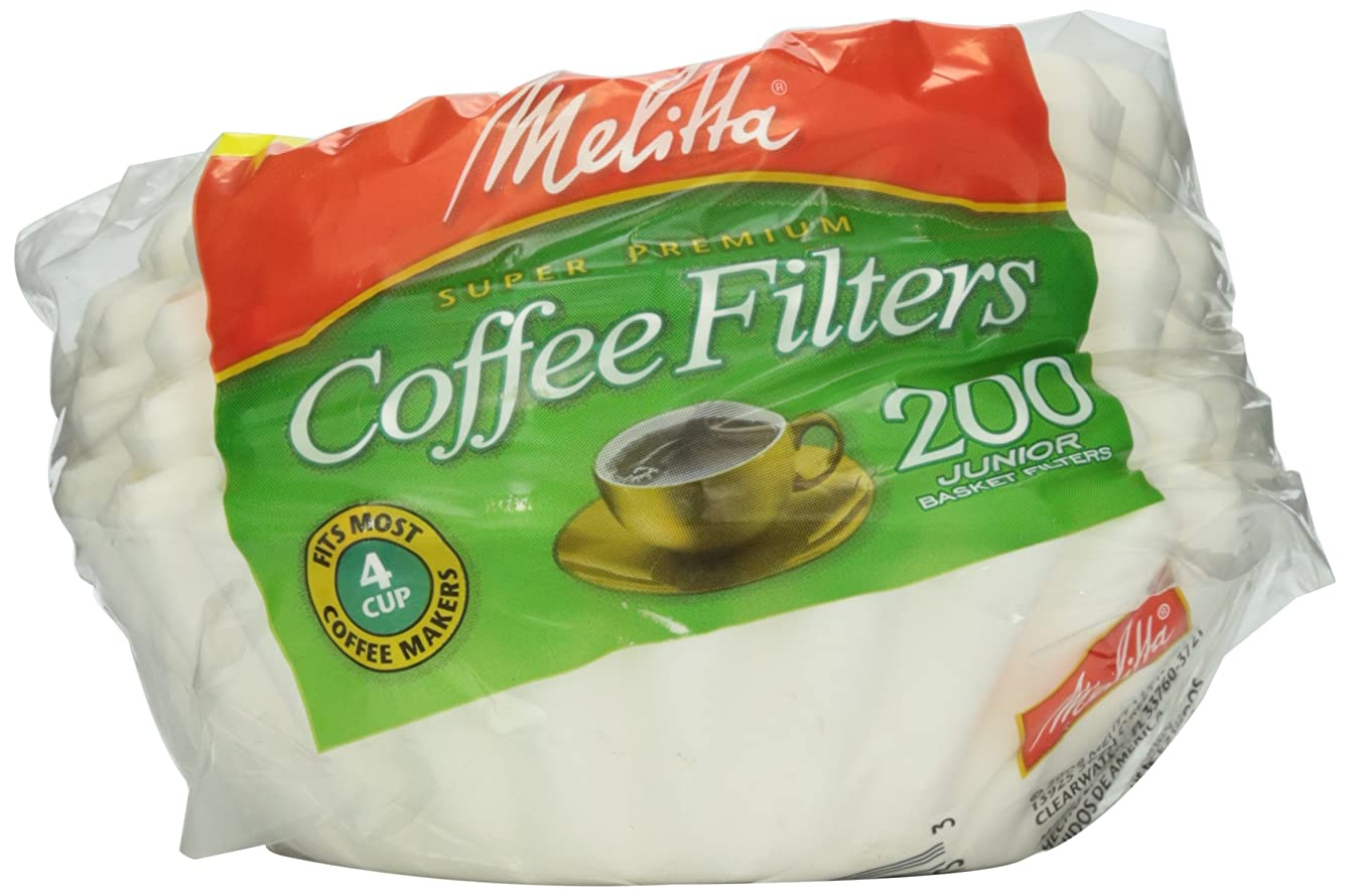 Melitta White Jr. Basket Filter, 4-6 Cup, 200 ct