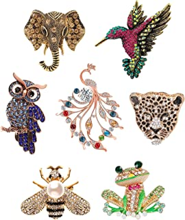 FUNEIA 7PCS Crystal Brooch Set for Women Men Antique Cute Animal Shape Colorful Rhinestone Pins Costume Gifts