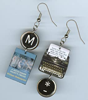 Shakespeare book cover earrings - literary quote jewelry - typewriter key