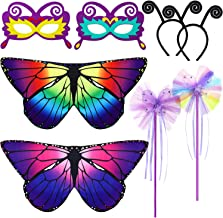 Sumind 8 Pieces Kids Butterfly Wings Costume Set Butterfly Mask Antenna Headband Tutu Wand for Halloween Dress Up Party Favor (Rainbow and Purple)