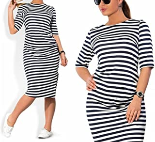 aea1f43bb6 JINTING Plus Size Women Spring Autumn Striped Knee-Length Casual Loose Dress