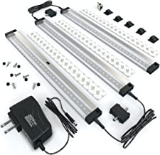 EShine 3 12 Inch Panels LED Dimmable Under Cabinet Lighting Kit, Hand Wave Activated - Touchless Dimming Control, Warm White (3000K)