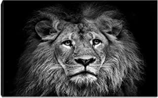 Canvas Wall Art- Black and White Lion Face Painting Picture AnimalPortrait Stretching Ready to Hang for Living Room Bedroom Home Decorations