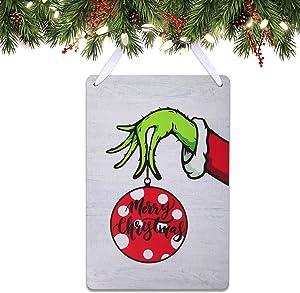 Tbrand Christmas Grinch Wooden Door Hanger Holiday Hanging Sign Decor Grinch Door Decorations Outdoor Indoor Wall Decor for Christmas Party Supplies Favors