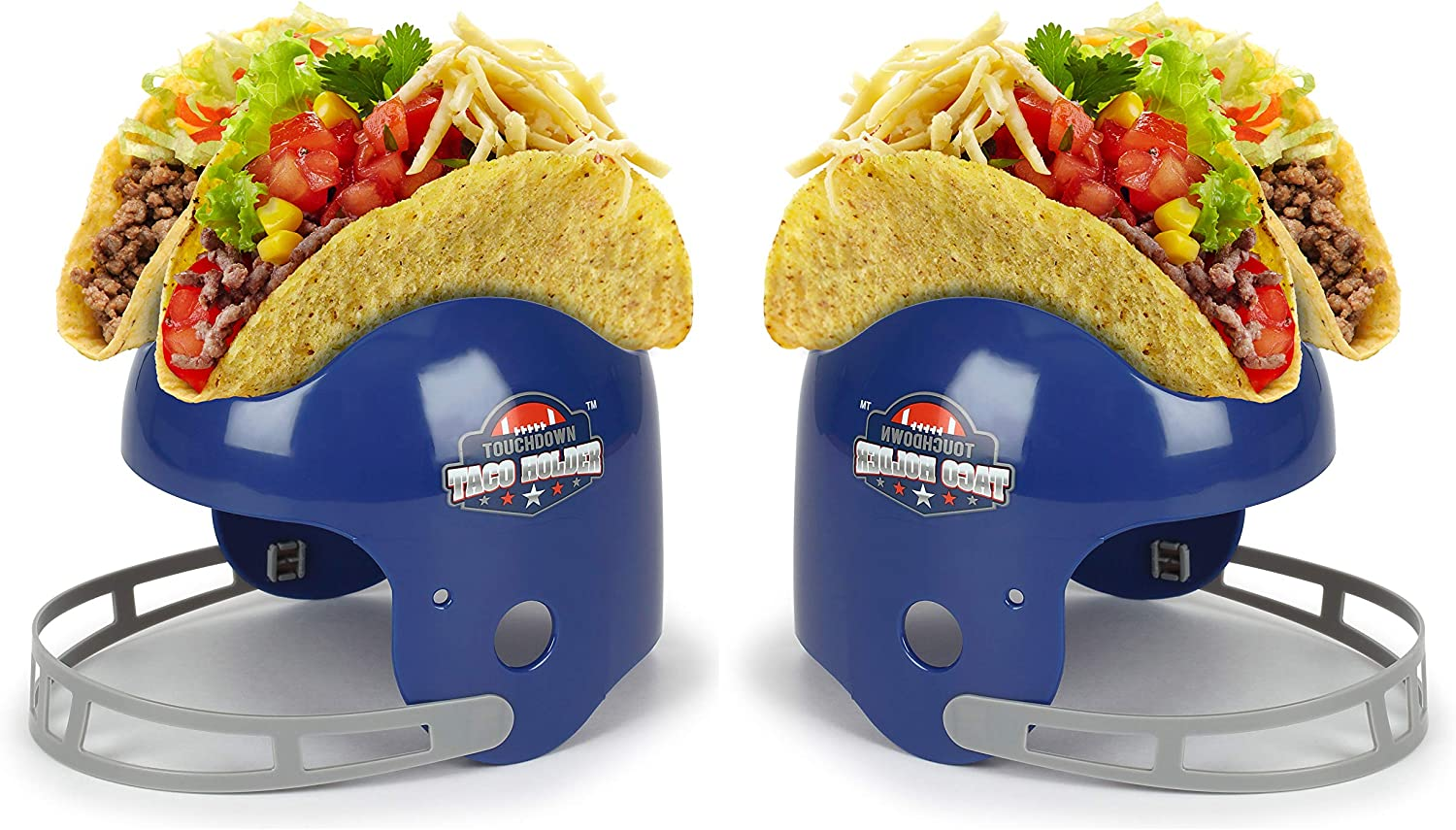 Funwares Touchdown Taco Holder - Football Helmet Taco Stand and Snack Bowl - Set of 2